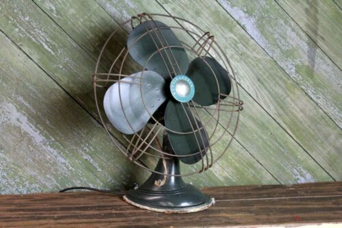 """Vintage Westinghouse Table Fan 3 Speed Oscillating 17"""" Green Paint Industrial"""