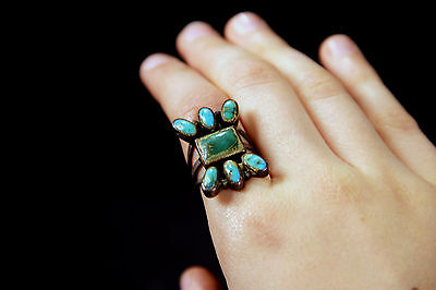 """Antique """"Old Pawn"""" c1910 Navajo Silver/ Turquoise Ring Size 6,  Museum-quality"""