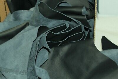 MIXED BLACK (various blacks) Large Scrap Leather Remnants 10LB BOX  Black Box Leather Footwear