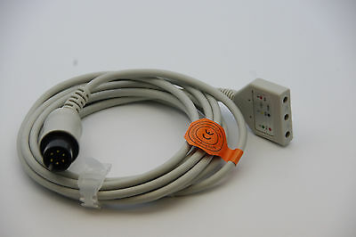 New Aami 6 Pin Ecg Cable - 3 Lead Din Criticare Datascop Welch-allyn Us Seller