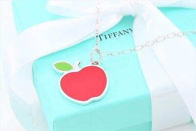 """Tiffany & Co Sterling Silver Red Enamel Apple Charm Pendant 18.5"""" Oval Necklace"""