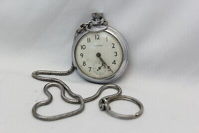 Vintage Ingersoll Pocket Watch Made in Great Britain Chain 99 England Untested