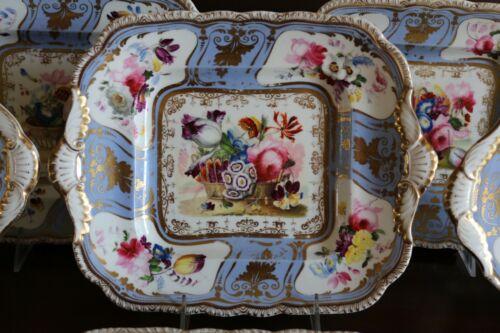 ANTIQUE ENGLISH PORCELAIN HAND PAINTED FLOWERS FRUITS DESSERT PLATES SET