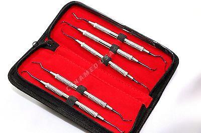 German Titanium Coated 5 Piece Gracey Curette Set Dental Surgical Instruments