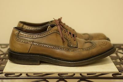Brown vintage TOWN CRAFT leather wingtip oxfords shoes 9-1/2 D