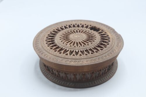 Antique Round Wooden Trinket Box Treen Ware Turned Covered Wood Carved