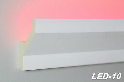 10 Meter LED Profil PU Stuckleiste indirekte Beleuchtung stoßfest 75x45, LED-10