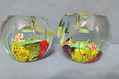 Beautiful Hand Crafted Art Glass Candlestick Holders Nautical Fish Tank Design