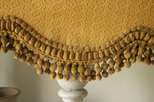 Valance Antique French Gold Pelmet w/ Chenille Trim 1860 Silk & Cotton Jacquard