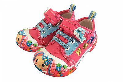 Baby Toddler Girl Pink Sneakers Shoes Size 5 Slip-on, Colorful Canvas