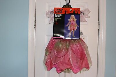 Halloween Costume Girl GARDEN FAIRY Small Pink Dress Wings - FREE SHIPPING (Garden Fairy Costume)