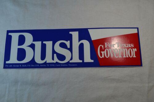 George W. Bush For Texas Governor (Austin) Bumper Sticker 1995-2000 - UNUSED