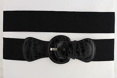 Women Belt Wide Elastic Black Fashion Hip High Waist Round Buckle Fits XS S M