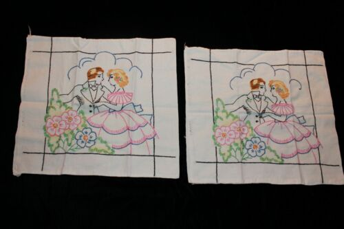 Vintage Art Deco Vogart Pair Embroidered Pillow Covers Completed