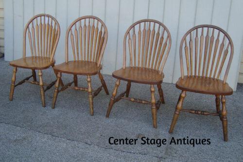 59898 Set 4 Solid Oak Windsor Dining Room Side Chairs