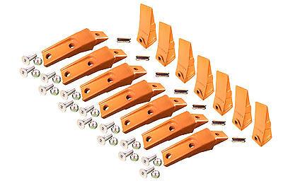 7 - Bobcat Style Skid Steer Bucket Teeth w/ Bolt On Shanks, Pins, & Hardware