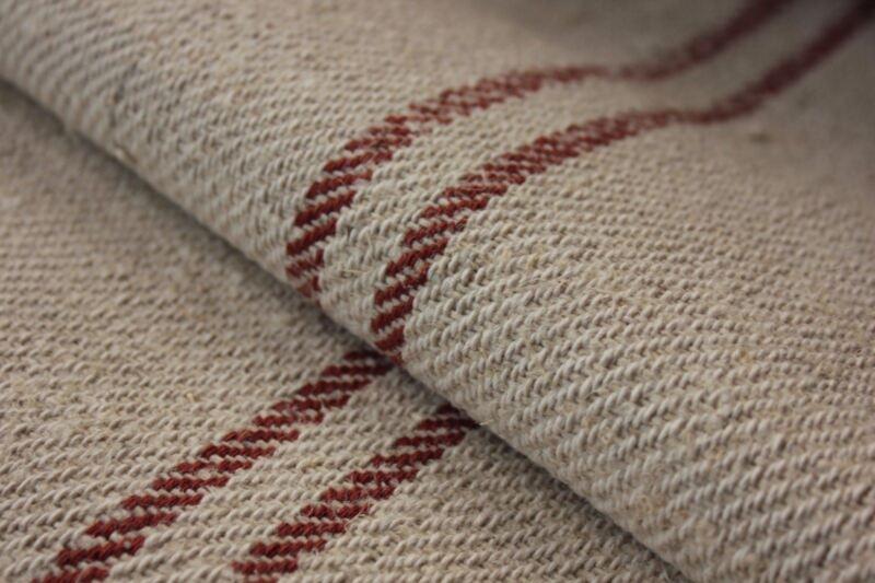 Vintage STAIR RUNNER HEMP fabric material organic TERRACOTTA 1YD cotton linen