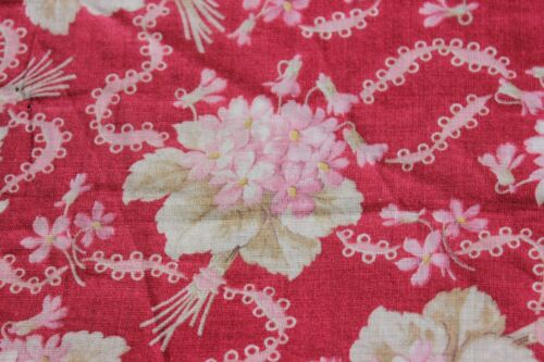 Antique Victorian 19thC Floral Printed Cotton~Ribbons Among Violet Nosegays