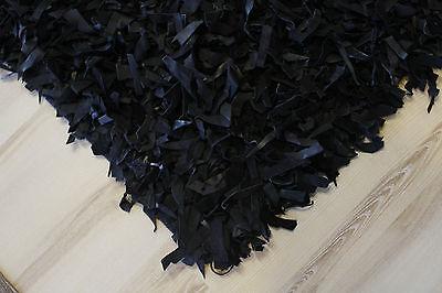 Alfombra de Piel Pelo Largo Negro 110x170 CM Cuero Auténtico