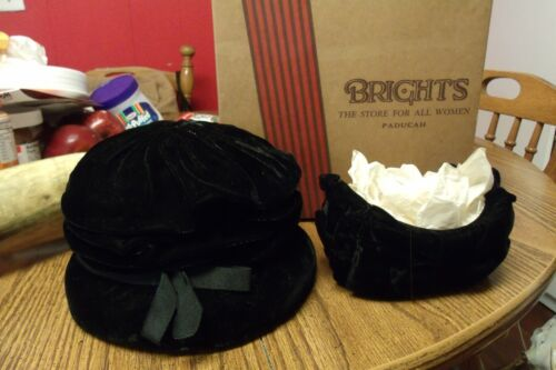 ANTIQUE PADUCAH KENTUCKY BRIGHTS BLACK DERBY HAT AND HEADBAND IN ORIGINAL BOX
