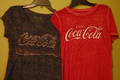 Coca Cola T-shirt Lot of 2, Super soft, Burn-out Style, Small & Large