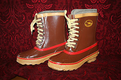 Men's Glacier Bay Duck Boots Hunting Boots 7 EUC WOOL LINERS Steel Shank Winter