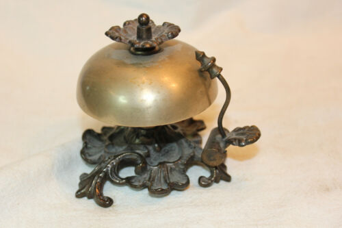 VINTAGE BRASS AND CAST IRON HOTEL COUNTER BELL WITH FINGER CONTROL RINGER