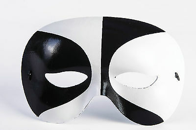 BLACK WHITE VOODOO DOMINO HALF MASK Adult Halloween Italian Clown Mime Face Eye