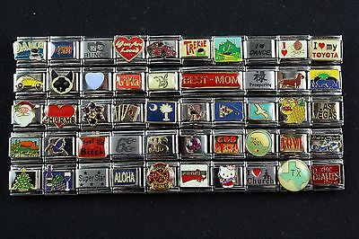 Italian Charms 50 assorted Stainless Steel Wholesale Lot 9mm  (C50-119)