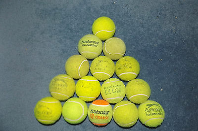 15 USED TENNIS BALLS DOG TOYS PLAY BEACH CRICKET MANY BRANDED GOOD CONDITION