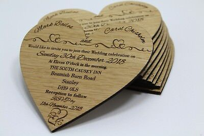 Wooden wedding invitation, personalised heart shaped invitations