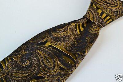 (Oxxford Clothes Gold Black Jumbo Paisley 100% Silk Tie EUC)