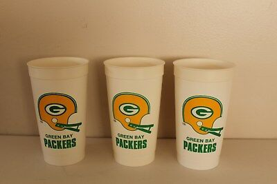 3 Vintage Green Bay Packers Hall Of Fame Cups - Good Condition!