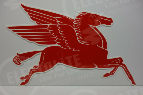 """PEGASUS MOBILE OIL """"COOKIE CUTTER"""" DIE CUT SERVICE SIGN. 18""""High BY 29"""" Wide"""