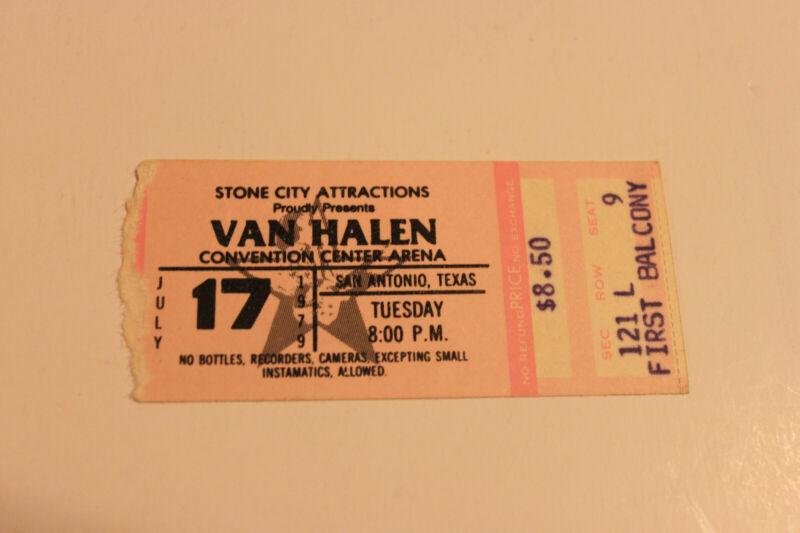 VAN HALEN 1979 SAN ANTONIO CONCERT TICKET STUB (WITH DAVID LEE ROTH)