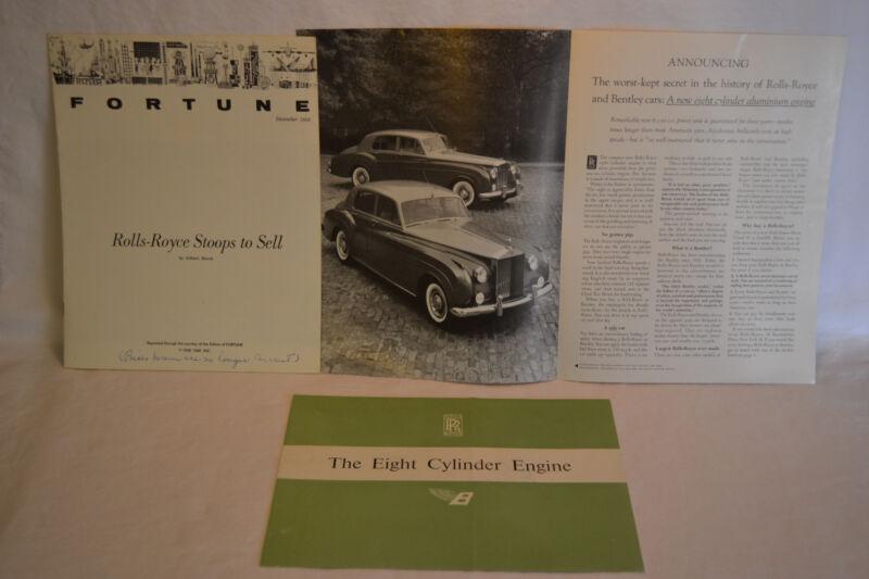 3 Lot 1960 Rolls Royce 8 Cylinder Engine Original Sales Brochure 1958 Fortune