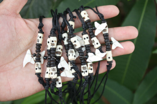 10 Handmade Shark Tooth Necklaces Skull Bone Beads Wholesale (USPS only)