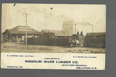 Williston NORTH DAKOTA RPc1910 ADVERTISING Missouri River LUMBER CO. Olson Photo