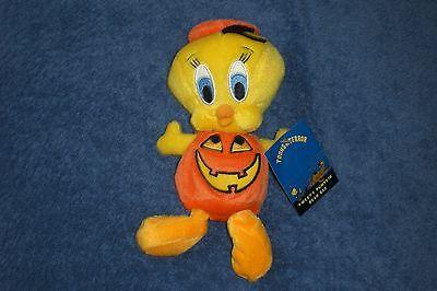 Warner Brothers Halloween 8 Inch TWEETY PUMPKIN Bean Bag Plush NEW