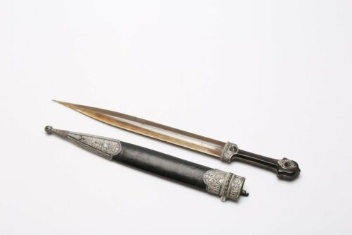 ANTIQUE RUSSIAN CAUCASIAN SILVER  KINDJAL DAGGER  19th C.