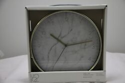 Project 62 Round Wall Clock | Brass Frame w Marble Face | 10x10x1.75 | NWT