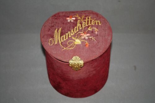 ANTIQUE VINTAGE MAROON MANSCHETTEN EMBROIDERED COLLAR CUFF BOX