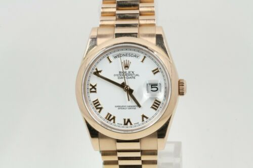 Rolex Day-date 36 Model 118205 White Roman Numeral Dial & Smooth Bezel