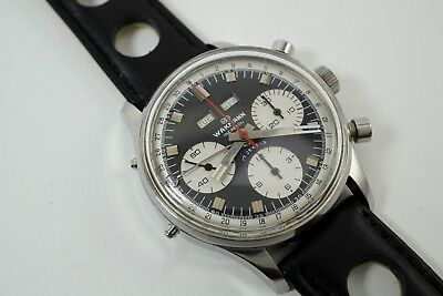 WAKMANN GIGANDET STAINLESS STEEL TRIPLE CALENDAR CHRONOGRAPH REF.1309, c.1960'S, used for sale  Shipping to Canada