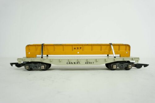 American Flyer S Gauge Chicago C&NW Flat Car 42597 w/ Beam 627 Load No Box M2