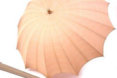 alter Regenschirm gestreift Länge 61 cm Ø 81 cm Holzgriff 50er Jahre Vintage