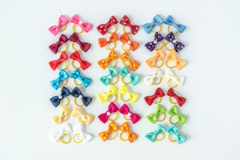 100Pcs Milone Pet Dog Hair Bows Small Bowknot Cute Pet Grooming Bows Topknot US