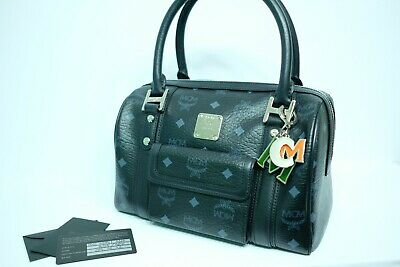 100% Authentic MCM Black Visetos Hand Bag + MCM Charm + Guarantee Card