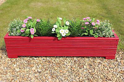 Red 100x22x23 (cm) Wooden Garden Trough Planter or Plant Pots