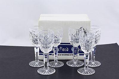 SET OF 6 WATERFORD CRYSTAL GLENGARRIFF LIQUEUR GLASSES, ORIGINAL BOX #2 - MINT